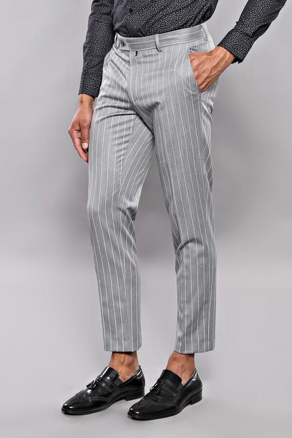 Çizgi Desen Gri Kumaş Pantolon | Wessi