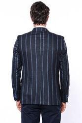 Çizgili Lacivert Slim Fit Ceket | Wessi - Thumbnail