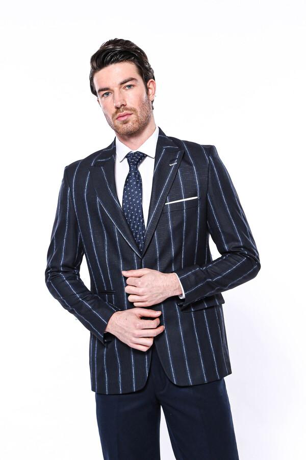 Çizgili Lacivert Slim Fit Ceket | Wessi