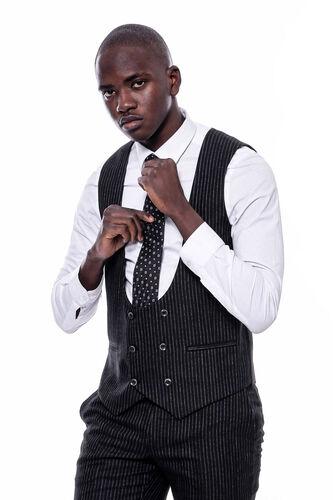 Çizgili Kruvaze Yelekli Siyah Slim Fit Takım Elbise