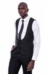 Çizgili Kruvaze Yelekli Siyah Slim Fit Takım Elbise - Thumbnail