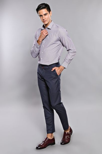 Çizgili Kumaş Lacivert Pantolon   Wessi