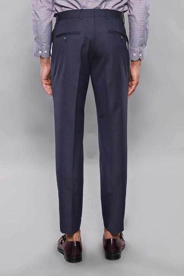 Çizgili Kumaş Lacivert Pantolon | Wessi