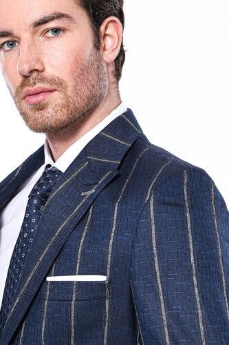 Çizgili Açık Lacivert Slim Fit Ceket | Wessi