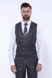 Çizgili Slim Fit Gri Yelekli Takım Elbise   Wessi - Thumbnail