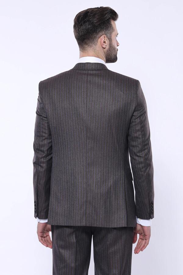 Çizgili Slim Fit Kahverengi Yelekli Takım Elbise | Wessi