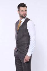 Çizgili Slim Fit Kahverengi Yelekli Takım Elbise | Wessi - Thumbnail