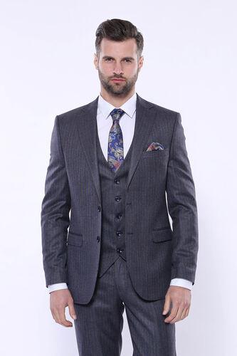 Çizgili Slim Fit Lacivert Yelekli Takım Elbise | Wessi