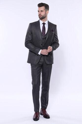 Çizgili Slim Fit Siyah Yelekli Takım Elbise | Wessi