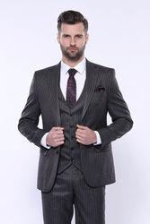 Çizgili Slim Fit Siyah Yelekli Takım Elbise | Wessi - Thumbnail