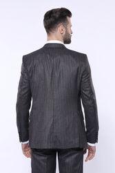Çizgili Slim Fit Siyah Yelekli Takım Elbise   Wessi - Thumbnail