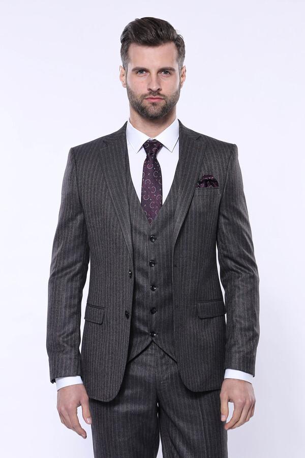 Çizgili Slim Fit Siyah Yelekli Takım Elbise   Wessi