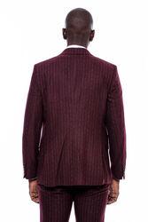 Çizgili Yelekli Bordo Slim Fit Takım Elbise - Thumbnail
