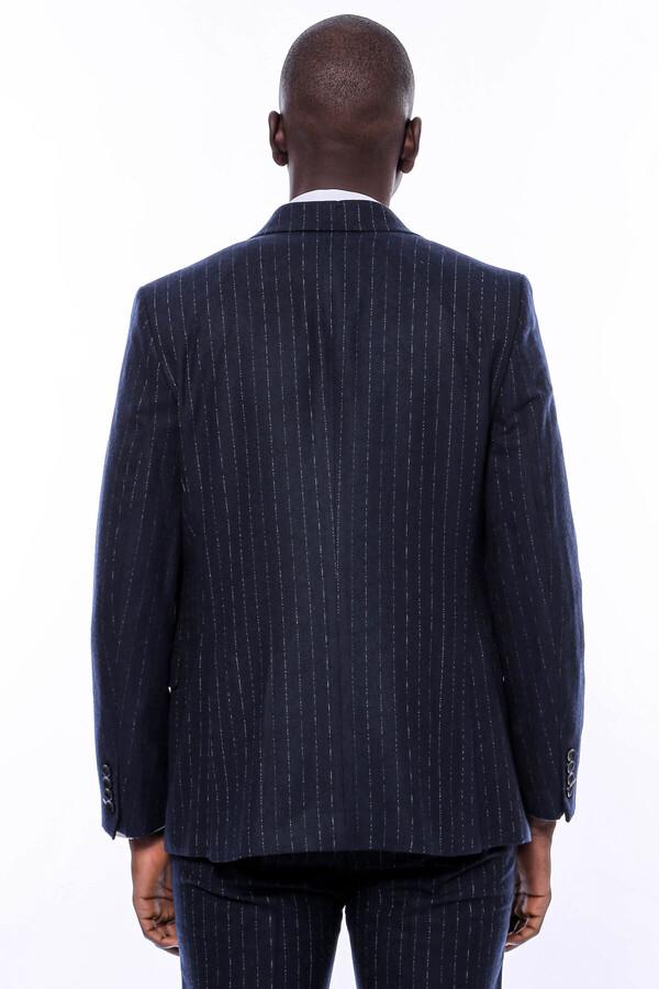 Çizgili Yelekli Lacivert Slim Fit Takım Elbise
