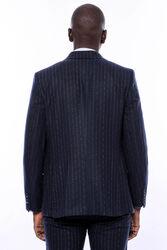 Çizgili Yelekli Lacivert Slim Fit Takım Elbise - Thumbnail