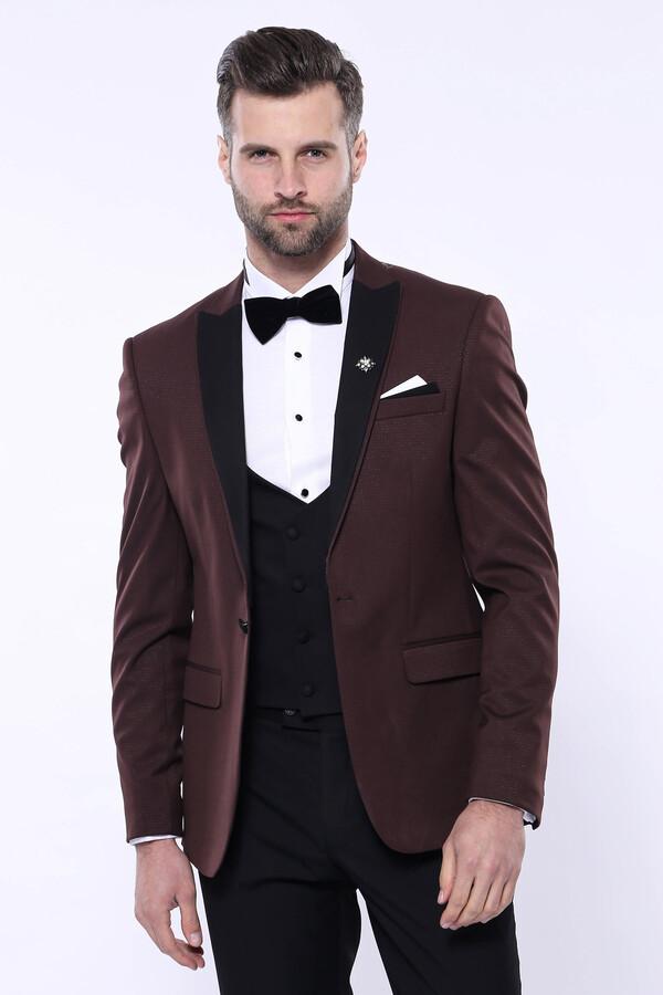 Desenli Bordo Çıkma Yaka Slim Fit Damatlık Takım Elbise   Wessi