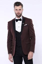 Desenli Bordo Çıkma Yaka Slim Fit Damatlık Takım Elbise   Wessi - Thumbnail