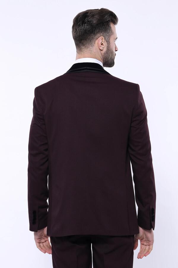 Desenli Bordo Velvet Çıkma Yaka Takım Elbise | Wessi