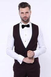 Desenli Bordo Velvet Çıkma Yaka Takım Elbise | Wessi - Thumbnail