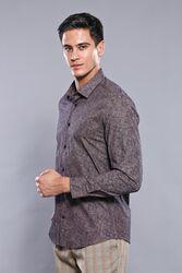 Desenli Kahverengi Uzun Kollu Gömlek | Wessi - Thumbnail