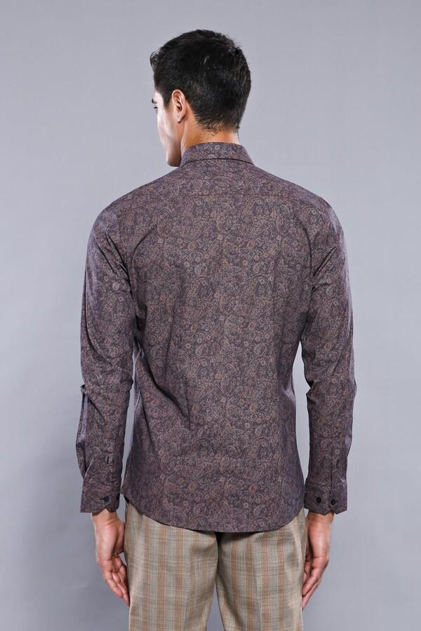 Desenli Kahverengi Uzun Kollu Gömlek | Wessi