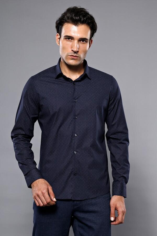 Desenli Lacivert Uzun Kollu Gömlek | Wessi