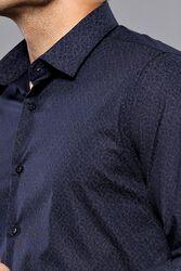 Desenli Lacivert Uzun Kollu Gömlek | Wessi - Thumbnail