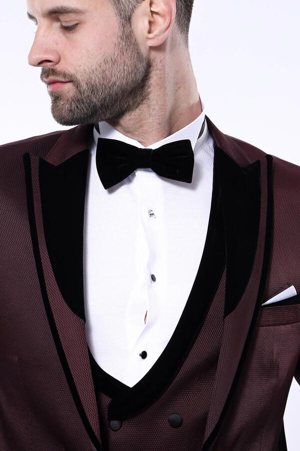 Desenli Velvet Yaka Bordo Takım Elbise | Wessi