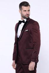 Desenli Velvet Yaka Bordo Takım Elbise | Wessi - Thumbnail