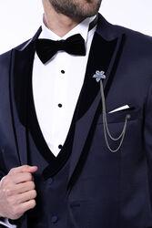 Desenli Velvet Yaka Lacivert Takım Elbise | Wessi - Thumbnail