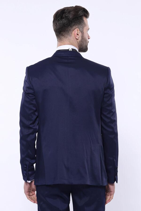 Desenli Velvet Yaka Lacivert Takım Elbise | Wessi