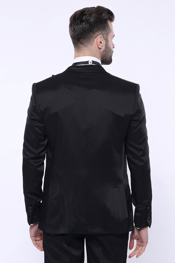 Desenli Velvet Yaka Siyah Takım Elbise | Wessi