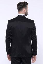 Desenli Velvet Yaka Siyah Takım Elbise | Wessi - Thumbnail
