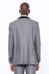 Desenli Yelekli Füme Damatlık Takım Elbise | Wessi - Thumbnail