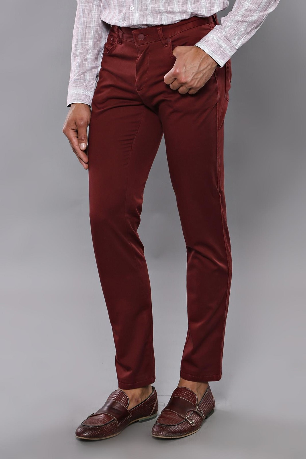 Düz Bordo Beş Cepli Pantolon | Wessi