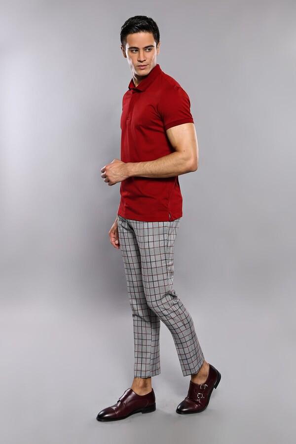 Polo Yaka Düz Bordo T-shirt | Wessi