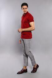 Polo Yaka Düz Bordo T-shirt | Wessi - Thumbnail