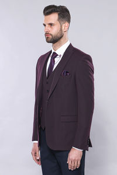 Düz Bordo Slim Fit Yelek Ceket Set | Wessi - Thumbnail