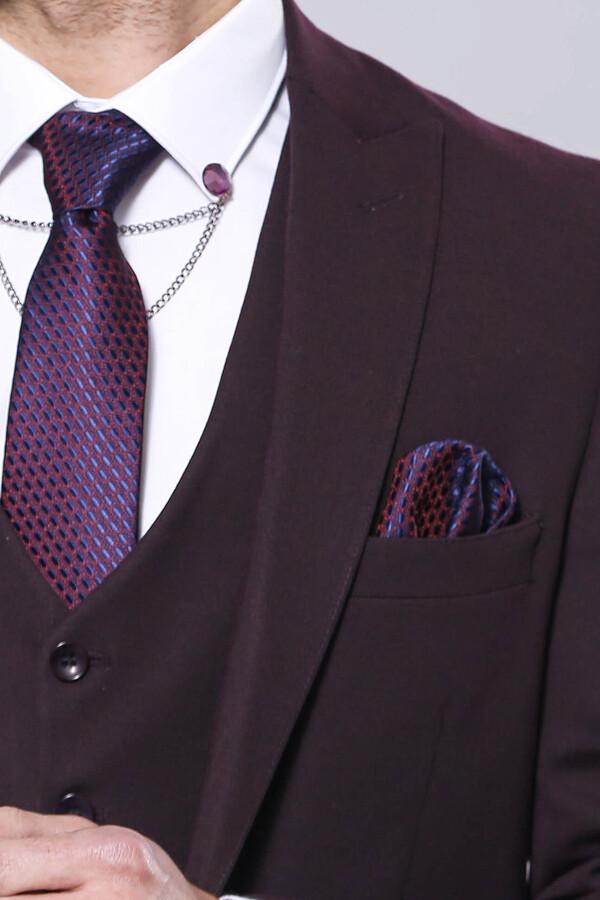 Düz Bordo Slim Fit Yelek Ceket Set | Wessi