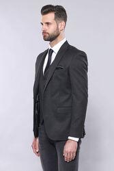 Düz Füme Slim Fit Ceket Yelek Set | Wessi - Thumbnail