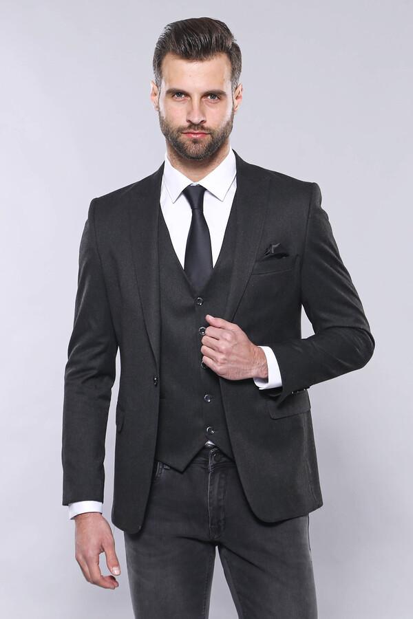 Düz Füme Slim Fit Ceket Yelek Set | Wessi