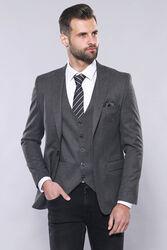 Düz Gri Slim Fit Yelek Ceket Set | Wessi - Thumbnail