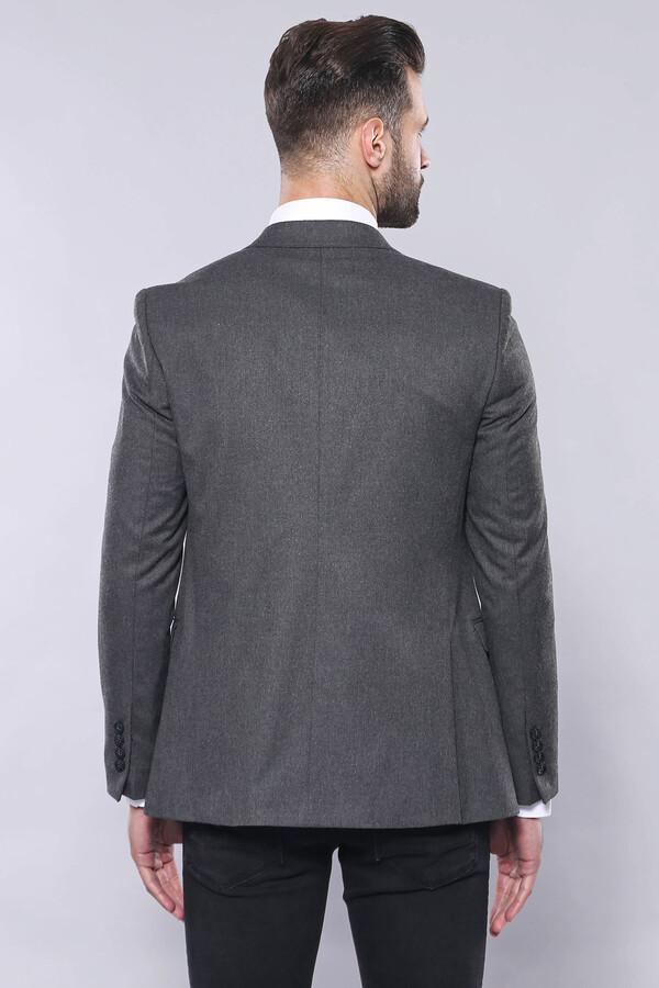 Düz Gri Slim Fit Yelek Ceket Set | Wessi