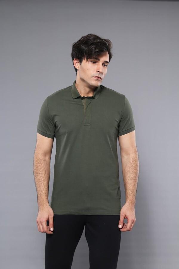 Polo Yaka Düz Haki T-shirt | Wessi