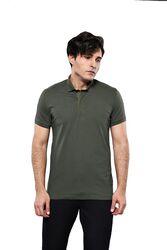 Polo Yaka Düz Haki T-shirt | Wessi - Thumbnail
