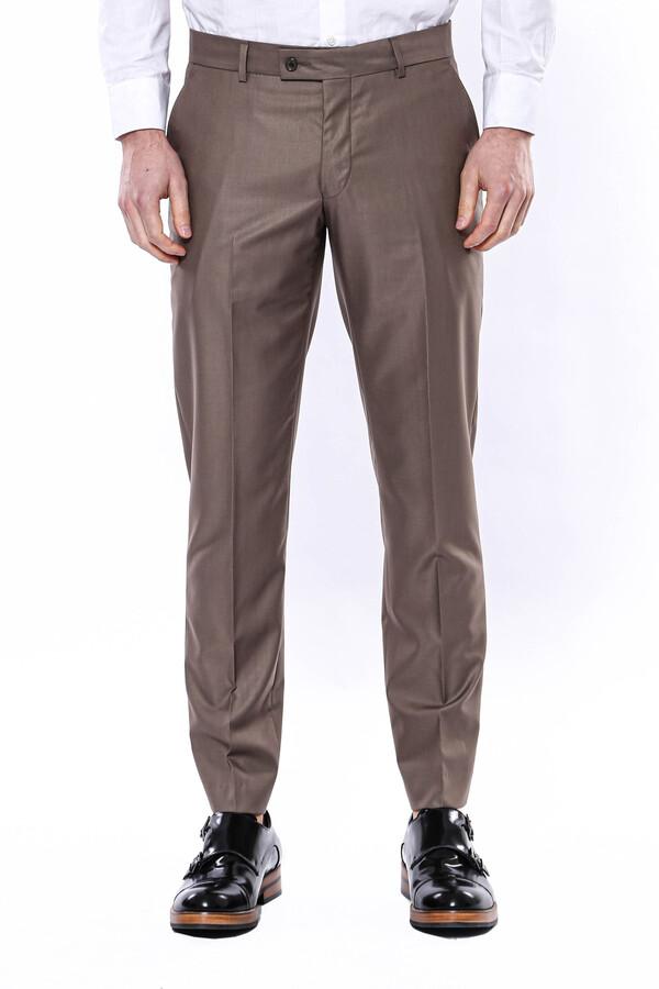 Düz Kahverengi Kumaş Pantolon | Wessi