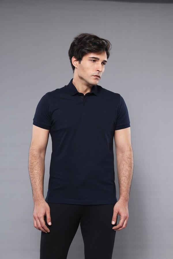 Polo Yaka Düz Lacivert T-shirt | Wessi