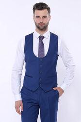 Düz Lacivert Sivri Yaka Slim Fit Yelekli Takım Elbise | Wessi - Thumbnail