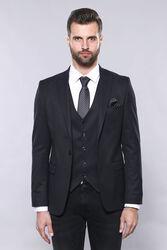 Düz Koyu Lacivert Slim Fit Ceket Yelek Set | Wessi - Thumbnail