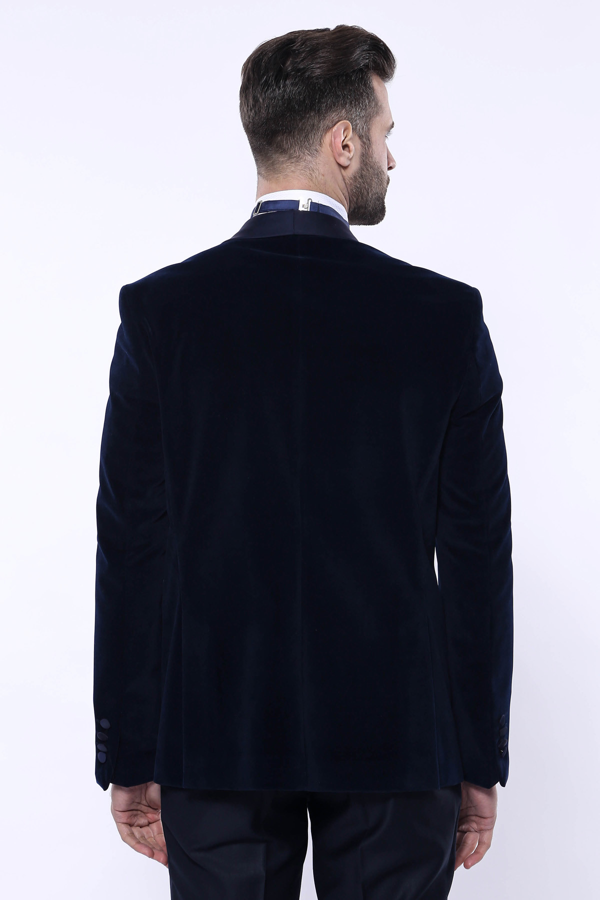 Düz Lacivert Velvet Ceket | Wessi